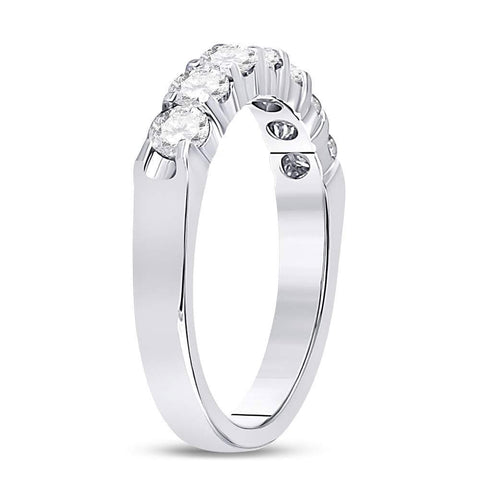 14kt White Gold Womens Round Diamond Single Row Comfort Wedding Band 3/4 Cttw