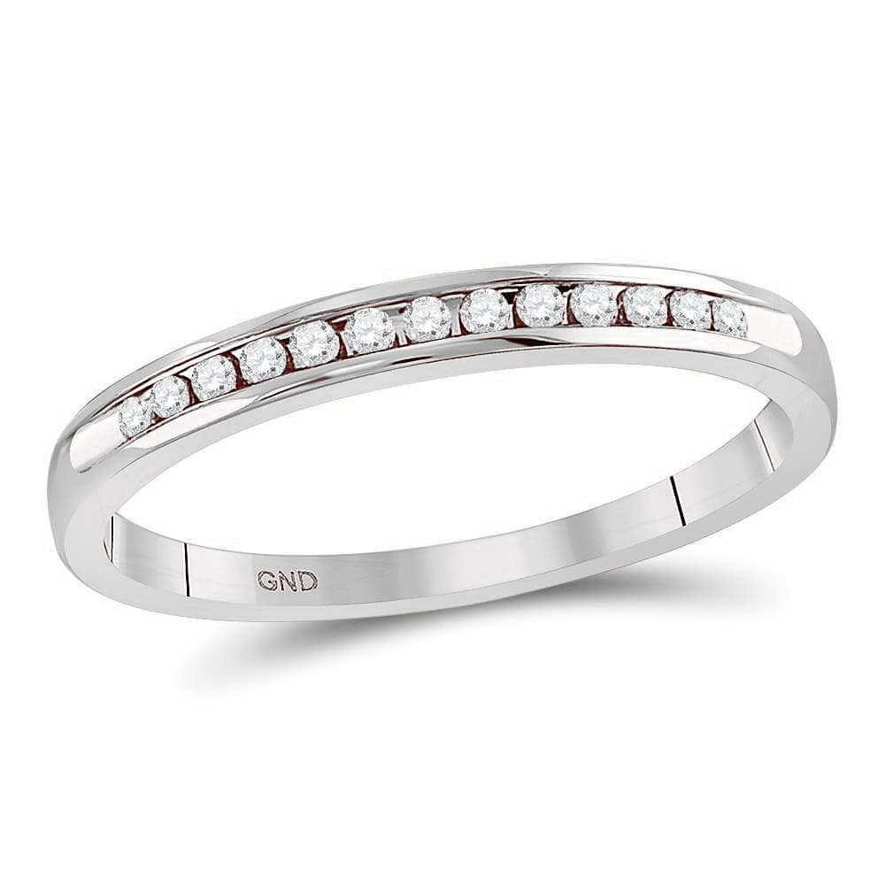 14kt White Gold Womens Round Diamond Single Row Channel-set Wedding Band 1/10 Cttw