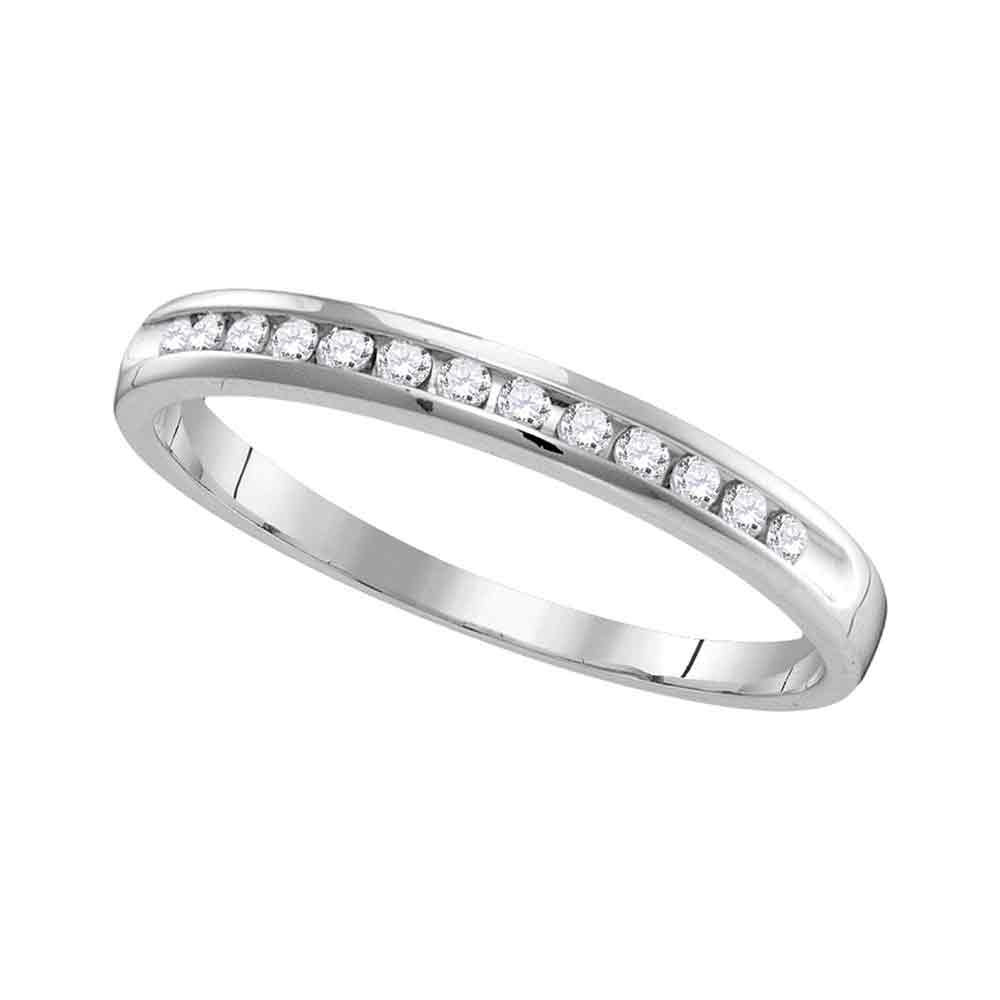 14kt White Gold Womens Round Diamond Slender Single Row Wedding Band 1/6 Cttw