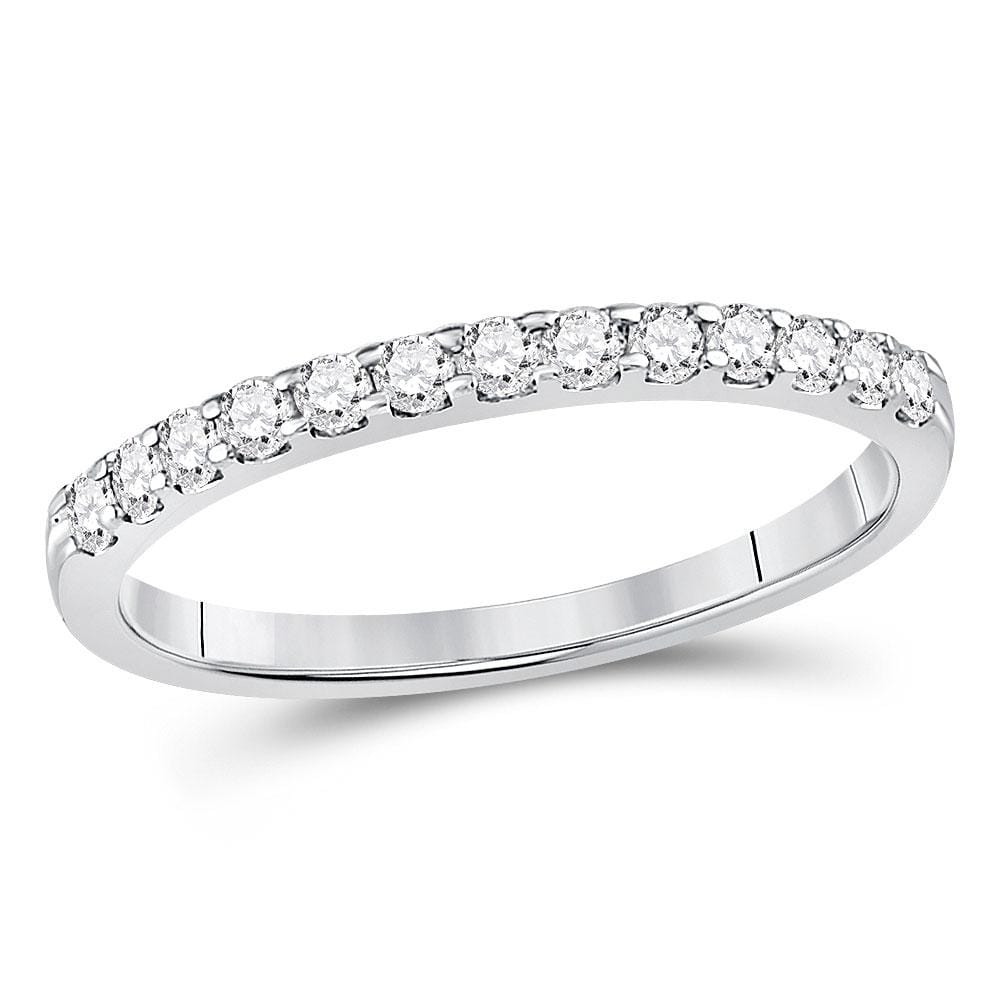 14kt White Gold Womens Round Diamond Single Row Machine-set Wedding Band 1/4 Cttw