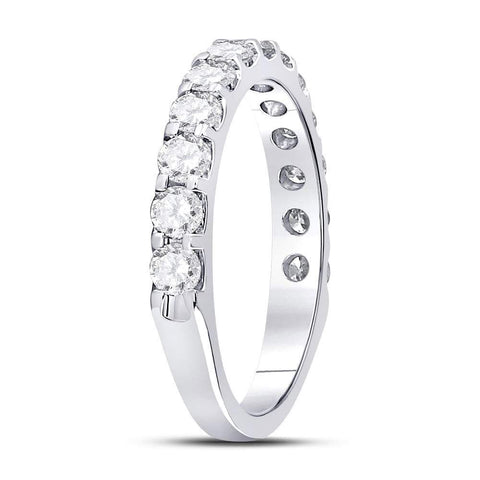 14kt White Gold Womens Round Diamond Single Row Machine-set Wedding Band 1 Cttw