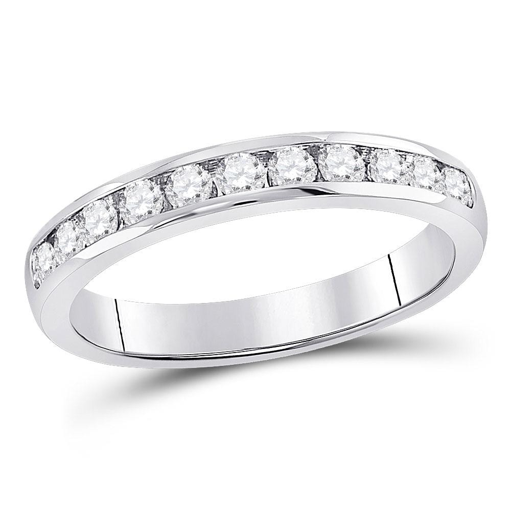 14kt White Gold Womens Round Diamond Single Row Channel-set Wedding Band 1/2 Cttw