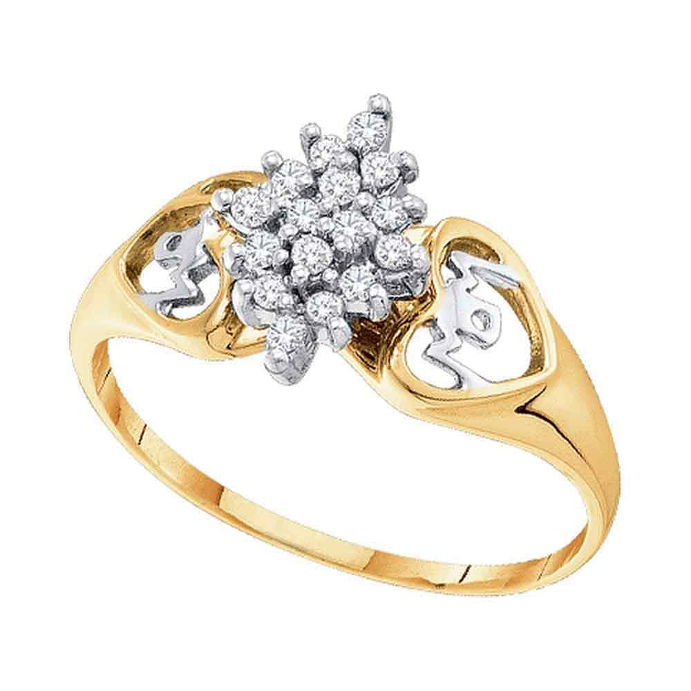 10kt Yellow Gold Womens Round Prong-set Diamond Cluster Heart Mom Ring 1/6 Cttw