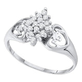 10kt White Gold Womens Round Prong-set Diamond Cluster Heart Mom Ring 1/6 Cttw