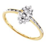 10kt Yellow Gold Womens Round Prong-set Diamond Small Cluster Ring 1/8 Cttw