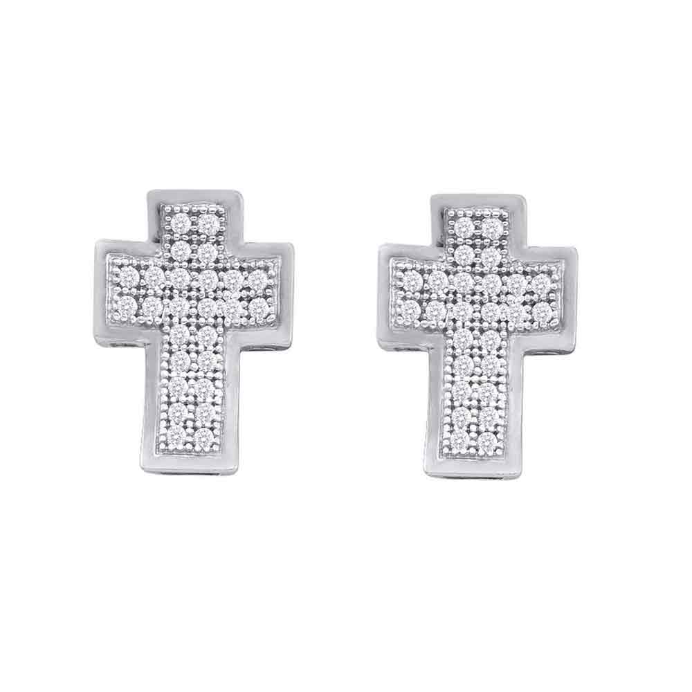 10kt White Gold Womens Round Diamond Concave Cross Stud Earrings 1/6 Cttw