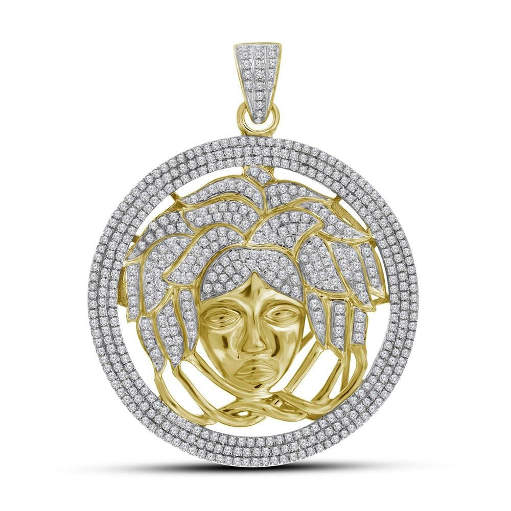 10kt Yellow Gold Mens Round Diamond Medusa Gorgon Charm Pendant 2-1/5 Cttw
