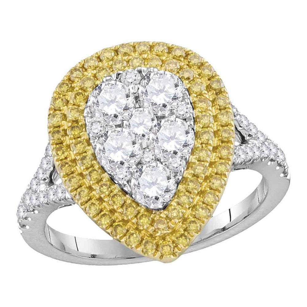 18kt White Gold Womens Round Yellow Diamond Cluster Ring 1-3/4 Cttw