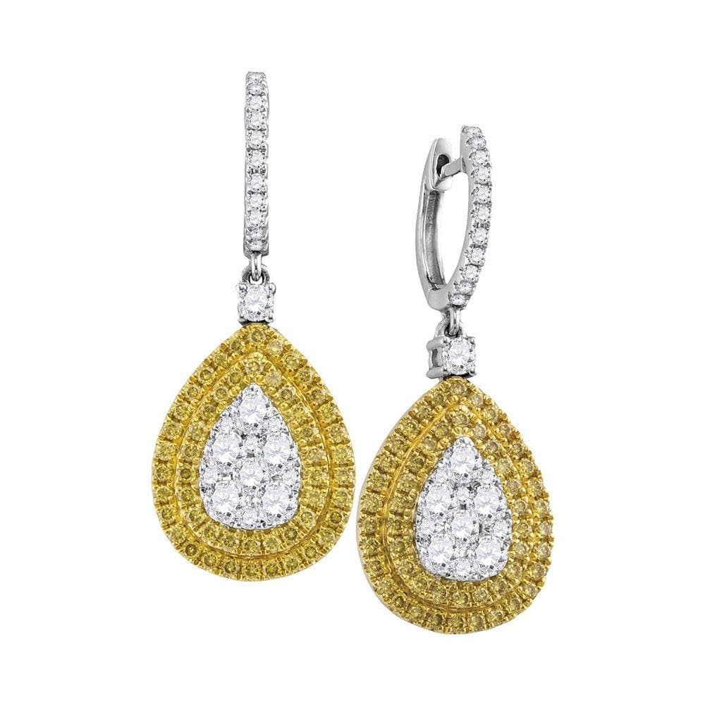 18kt White Gold Womens Round Yellow Diamond Teardrop Cluster Dangle Earrings 2.00 Cttw