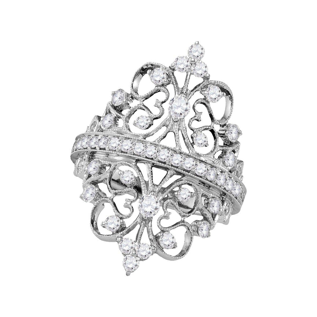 18kt White Gold Womens Round Diamond Crown Heart Symmetrical Fashion Ring 1-1/5 Cttw