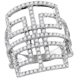 18kt White Gold Womens Round Diamond Openwork Symmetrical Knuckle Band Ring 1-1/5 Cttw