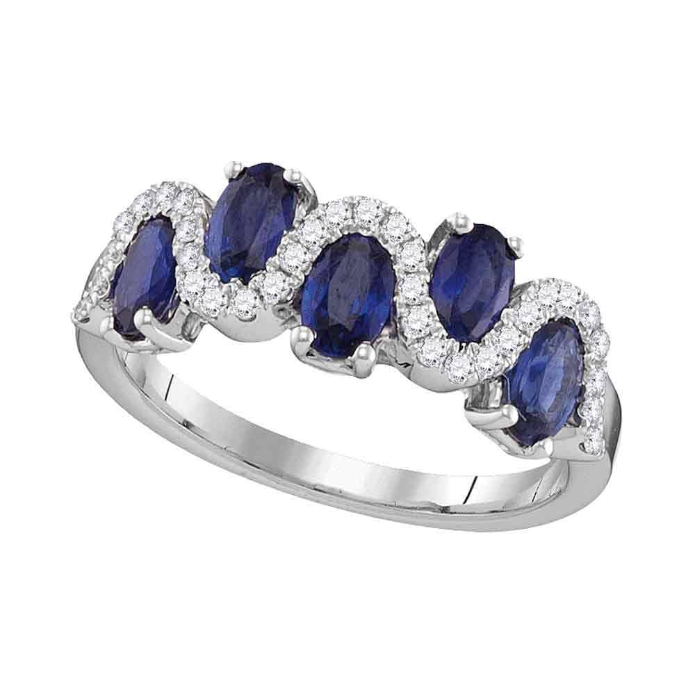 18kt White Gold Womens Oval Natural Blue Sapphire with Genuine Diamonds Band Ring 1-7/8 Cttw