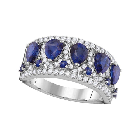 18kt White Gold Womens Pear Natural Blue Sapphire with Genuine Diamonds Band Ring 2.86 Cttw