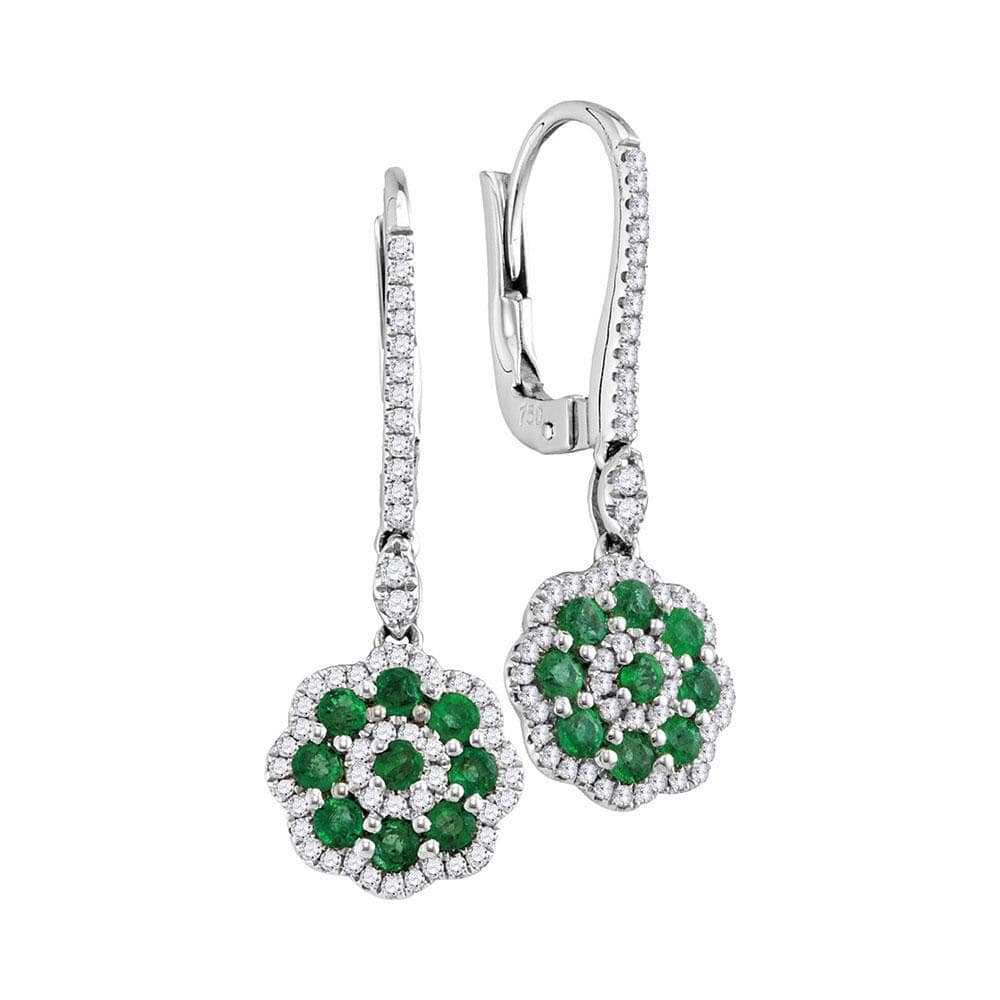 18kt White Gold Womens Round Natural Emerald Cluster with Genuine Diamond Frame Dangle Earrings 1.00 Cttw
