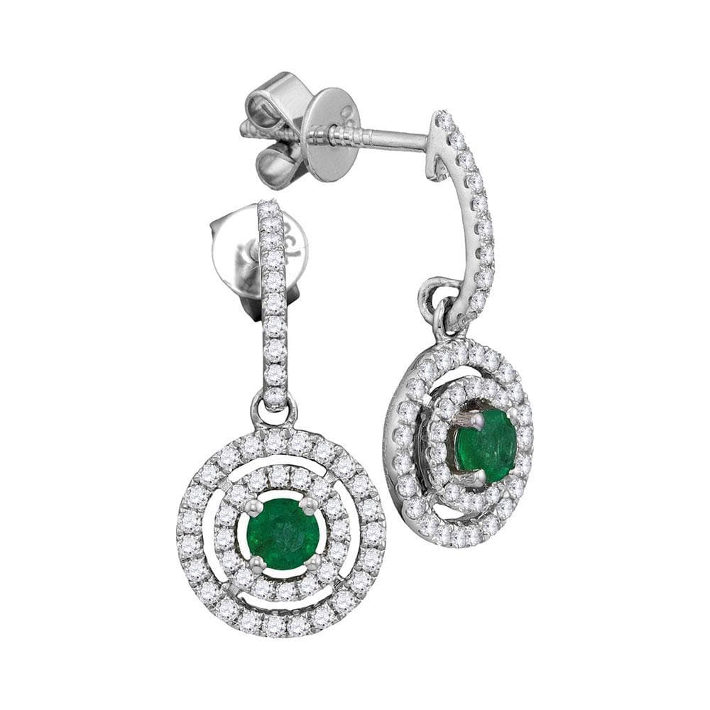 18kt White Gold Womens Round Natural Emerald Concentric Circle Dangle Earrings 3/4 Cttw