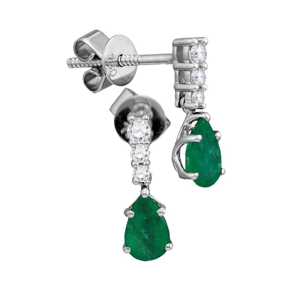 18kt White Gold Womens Pear Emerald Solitaire Diamond Dangle Earrings 5/8 Cttw