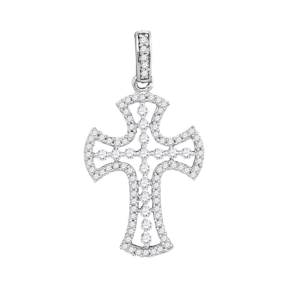10kt White Gold Womens Round Pave-set Diamond Flared Cross Pendant 1/2 Cttw