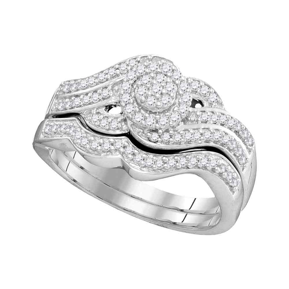 10kt White Gold Womens Round Diamond Cluster Bridal Wedding Engagement Ring Band Set 3/8 Cttw