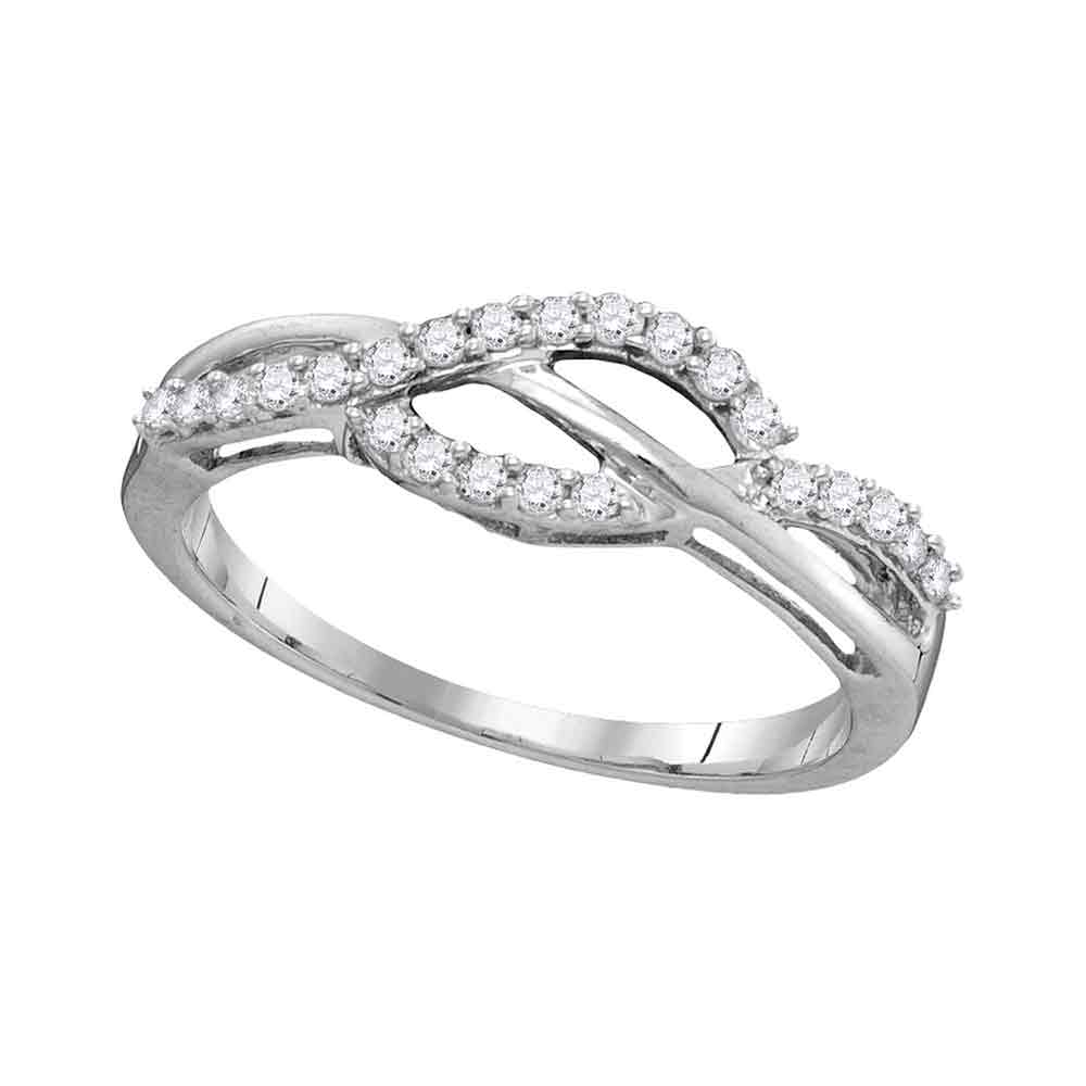 10kt White Gold Womens Round Diamond Woven Strand Band Ring 1/4 Cttw