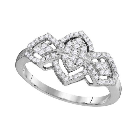 10kt White Gold Womens Round Diamond Oval Cluster Ring 1/3 Cttw