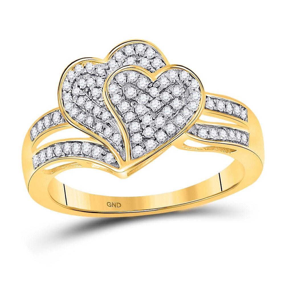 10kt Yellow Gold Womens Round Diamond Double Heart Ring 1/3 Cttw