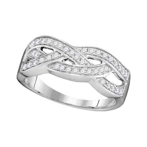 10kt White Gold Womens Round Diamond Woven Band Ring 1/3 Cttw