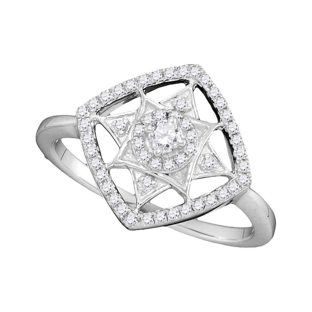 10kt White Gold Womens Round Diamond Square Fashion Ring 1/3 Cttw