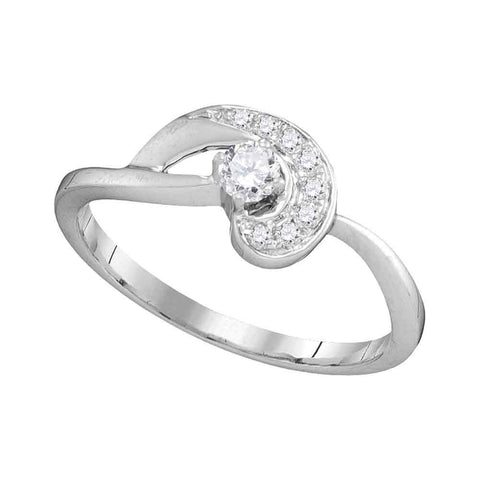 10kt White Gold Womens Round Diamond Solitaire Swirl Promise Bridal Ring 1/4 Cttw
