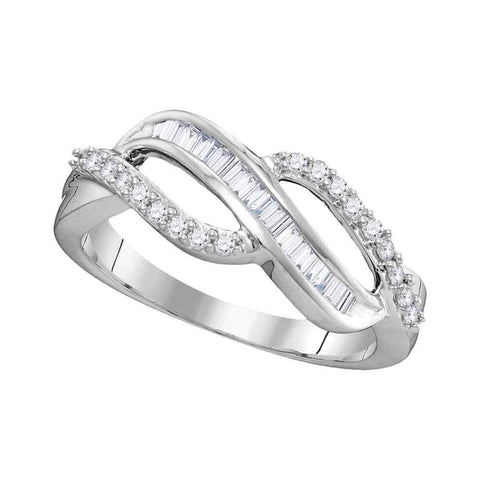 10kt White Gold Womens Round Baguette Diamond Open Crossover Band Ring 1/4 Cttw