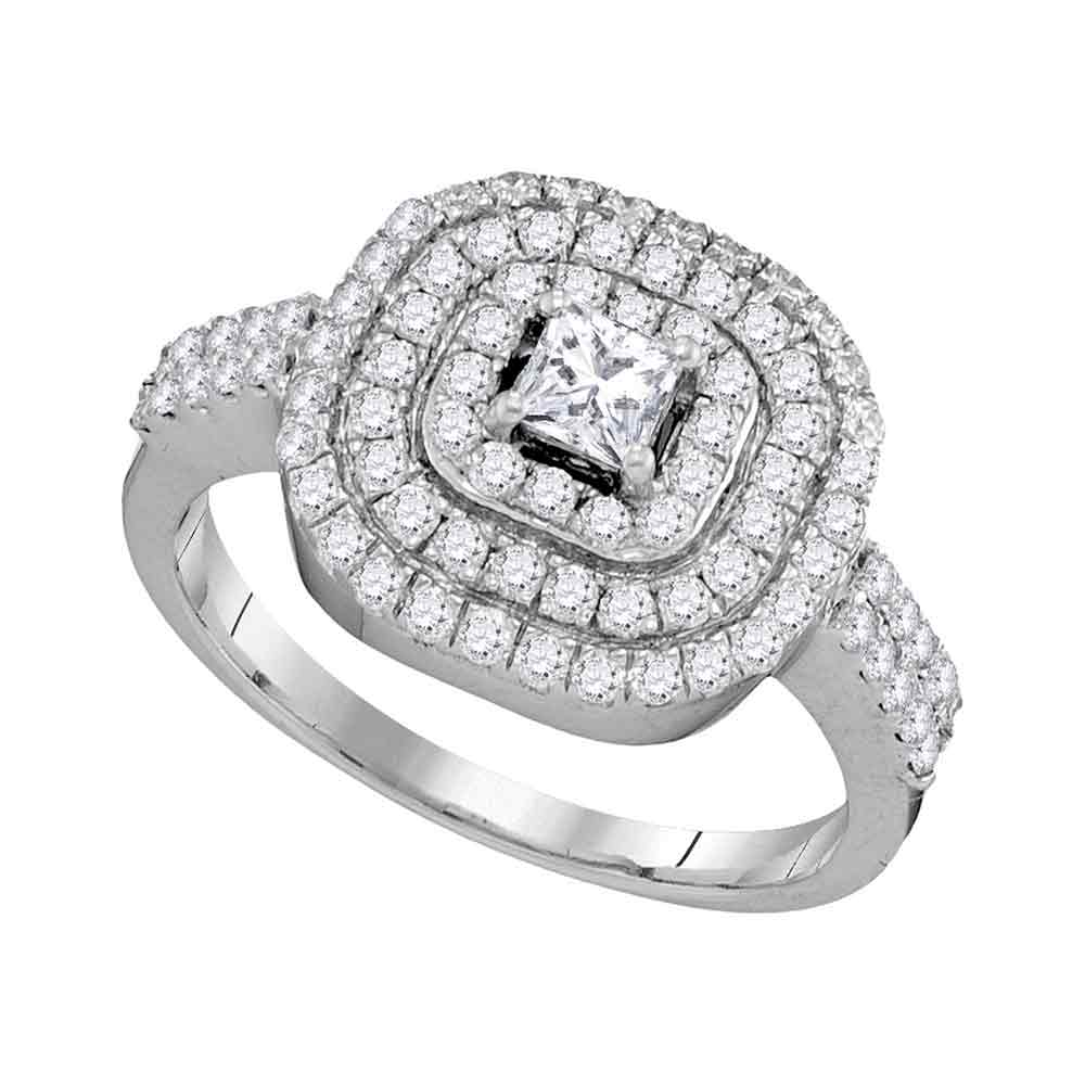 14kt White Gold Womens Princess Diamond Solitaire Triple Halo Bridal Wedding Engagement Ring 1.00 Cttw