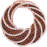 10kt Rose Gold Womens Round Red Color Enhanced Diamond Striped Circle Pendant 1-1/10 Cttw