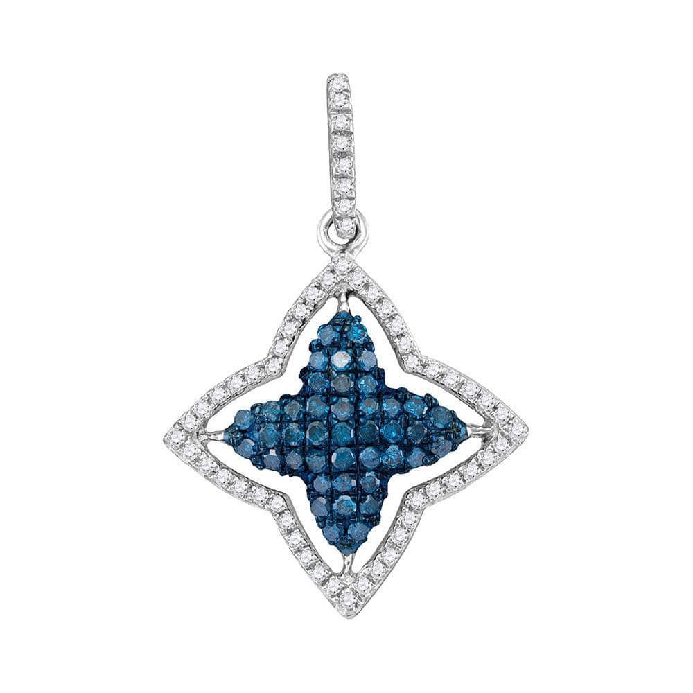10kt White Gold Womens Round Blue Color Enhanced Diamond Star Frame Pendant 1/2 Cttw