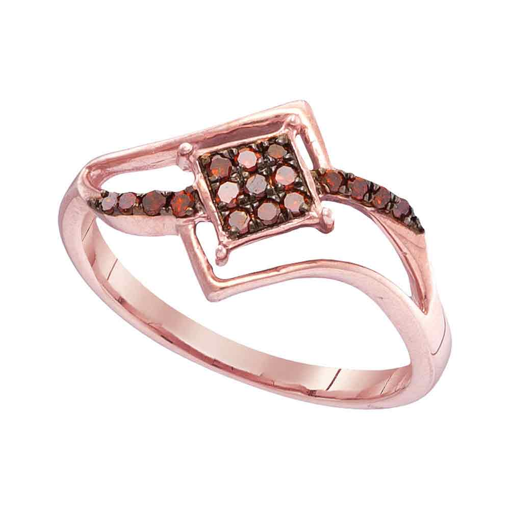 10kt Rose Gold Womens Round Red Color Enhanced Diamond Diagonal Square Cluster Ring 1/6 Cttw