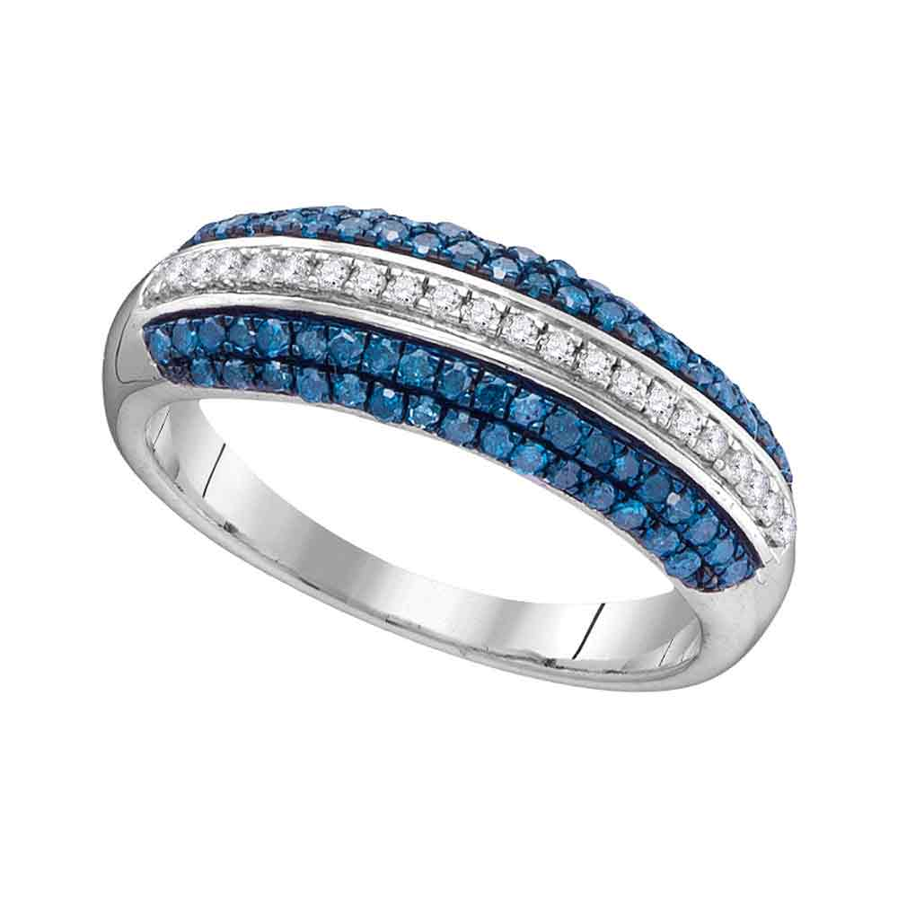10kt White Gold Womens Round Blue Color Enhanced Diamond Striped Band Ring 1/2 Cttw