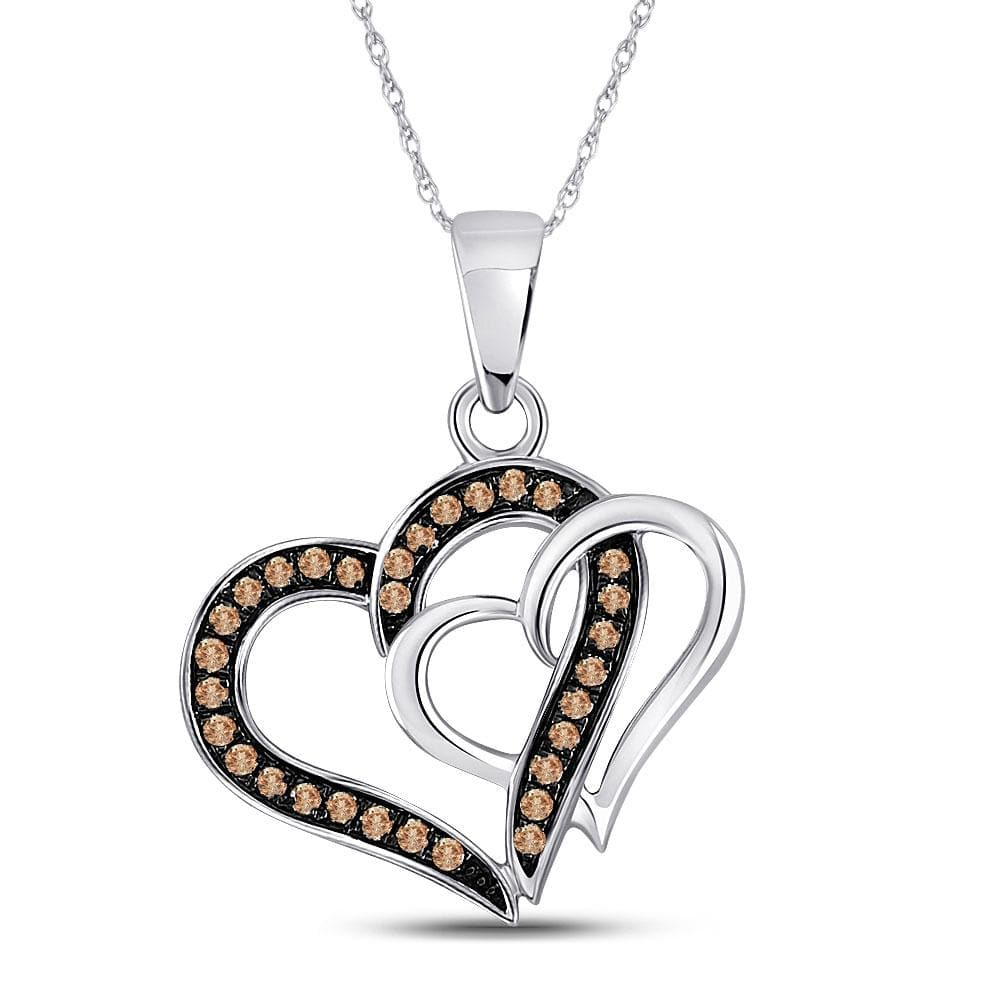 10kt White Gold Womens Round Cognac-brown Color Enhanced Diamond Double Linked Heart Pendant 1/4 Cttw