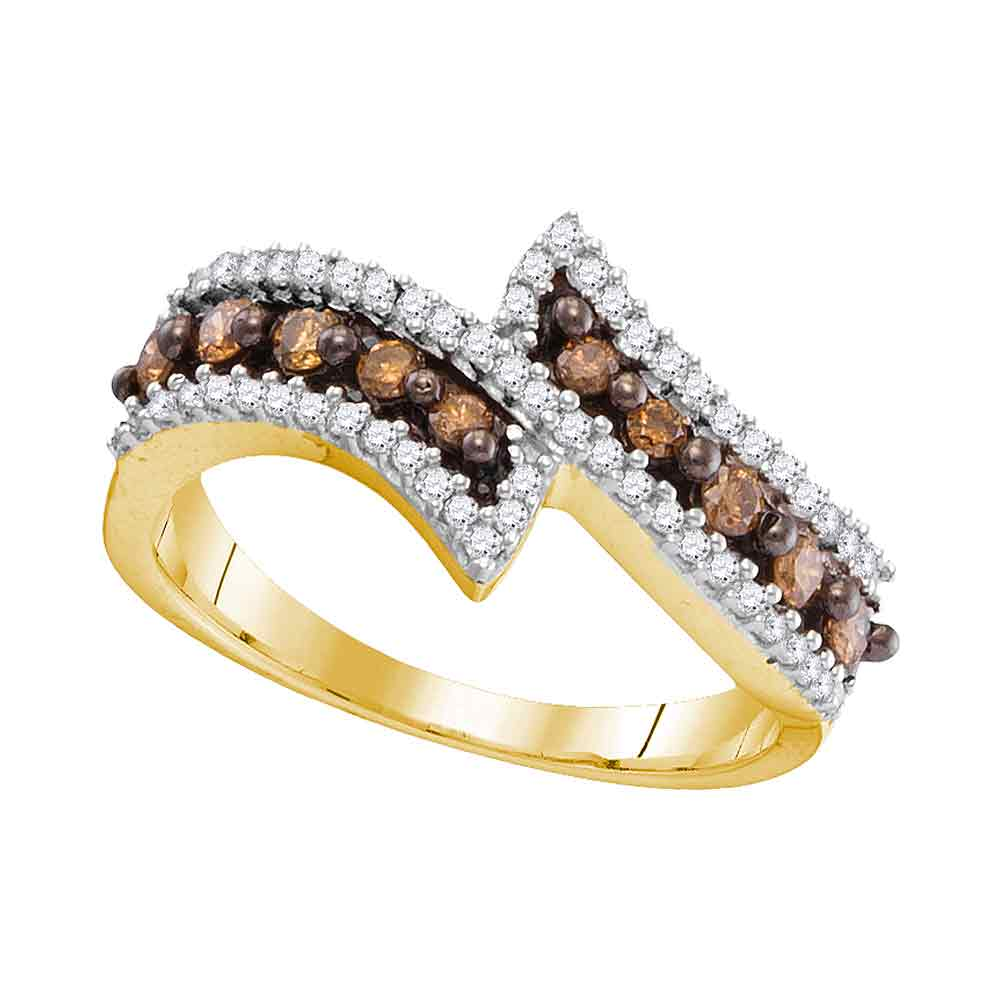 10kt Yellow Gold Womens Round Cognac-brown Color Enhanced Diamond Bypass Band Ring 1/2 Cttw