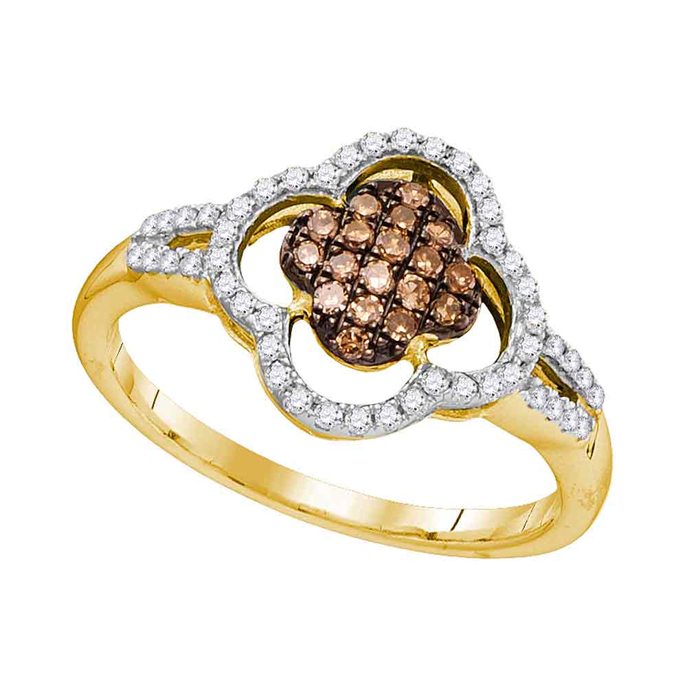 10kt Yellow Gold Womens Round Cognac-brown Color Enhanced Diamond Quatrefoil Cluster Ring 1/3 Cttw