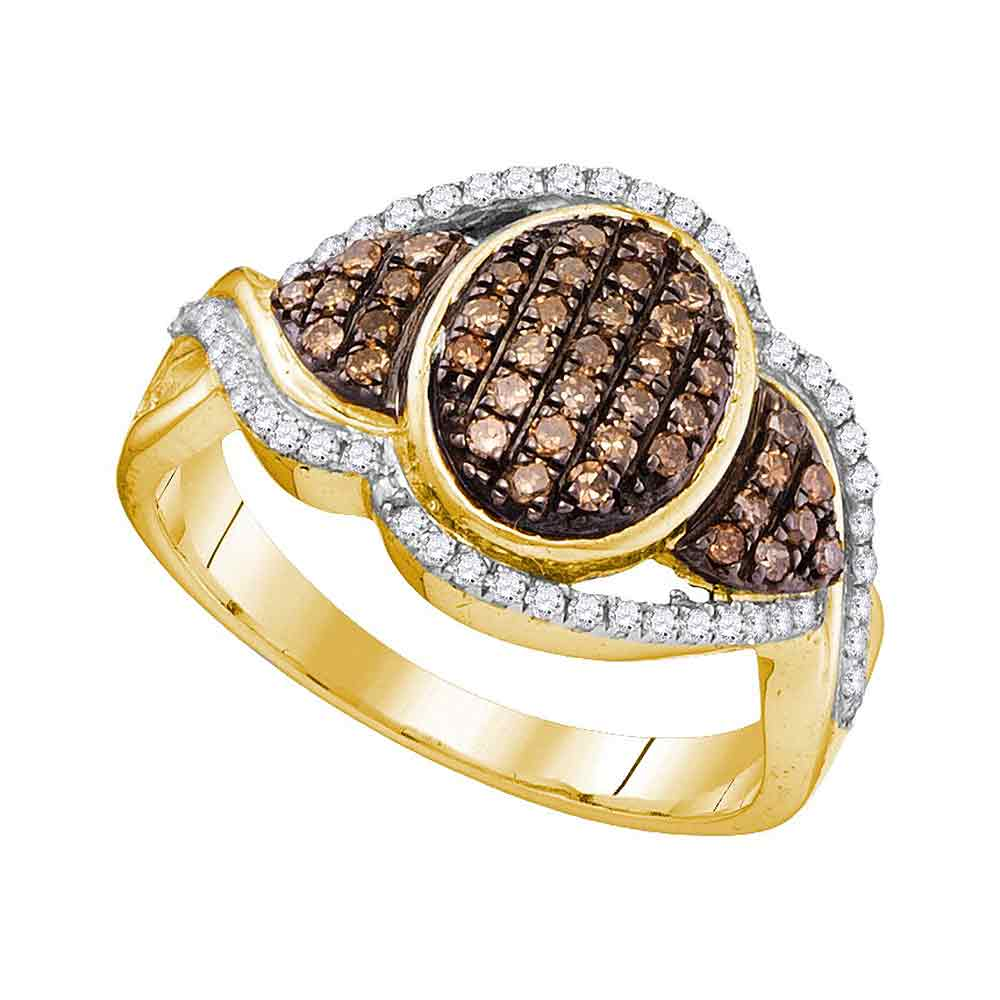 10kt Yellow Gold Womens Round Cognac-brown Color Enhanced Diamond Oval Frame Cluster Ring 1/2 Cttw
