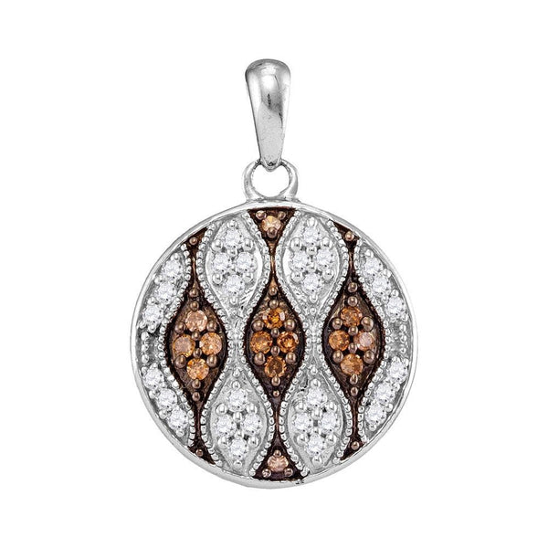 10kt White Gold Womens Round Brown Color Enhanced Diamond Circle Pendant 1/3 Cttw