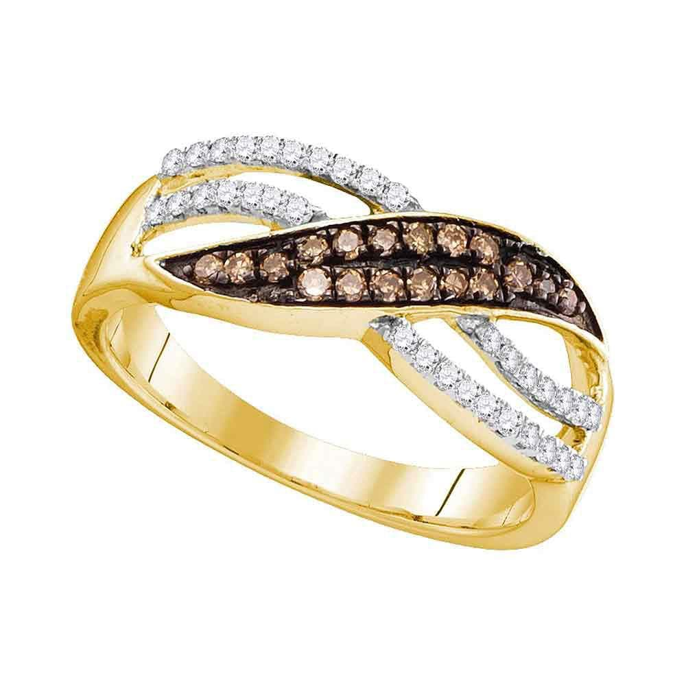 10kt Yellow Gold Womens Round Brown Color Enhanced Diamond Band Ring 1/3 Cttw