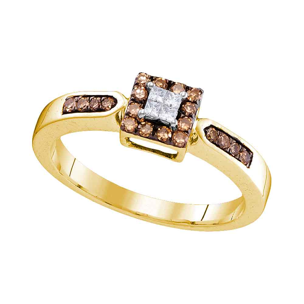10kt Yellow Gold Womens Round Cognac-brown Color Enhanced Diamond Square Cluster Ring 1/4 Cttw