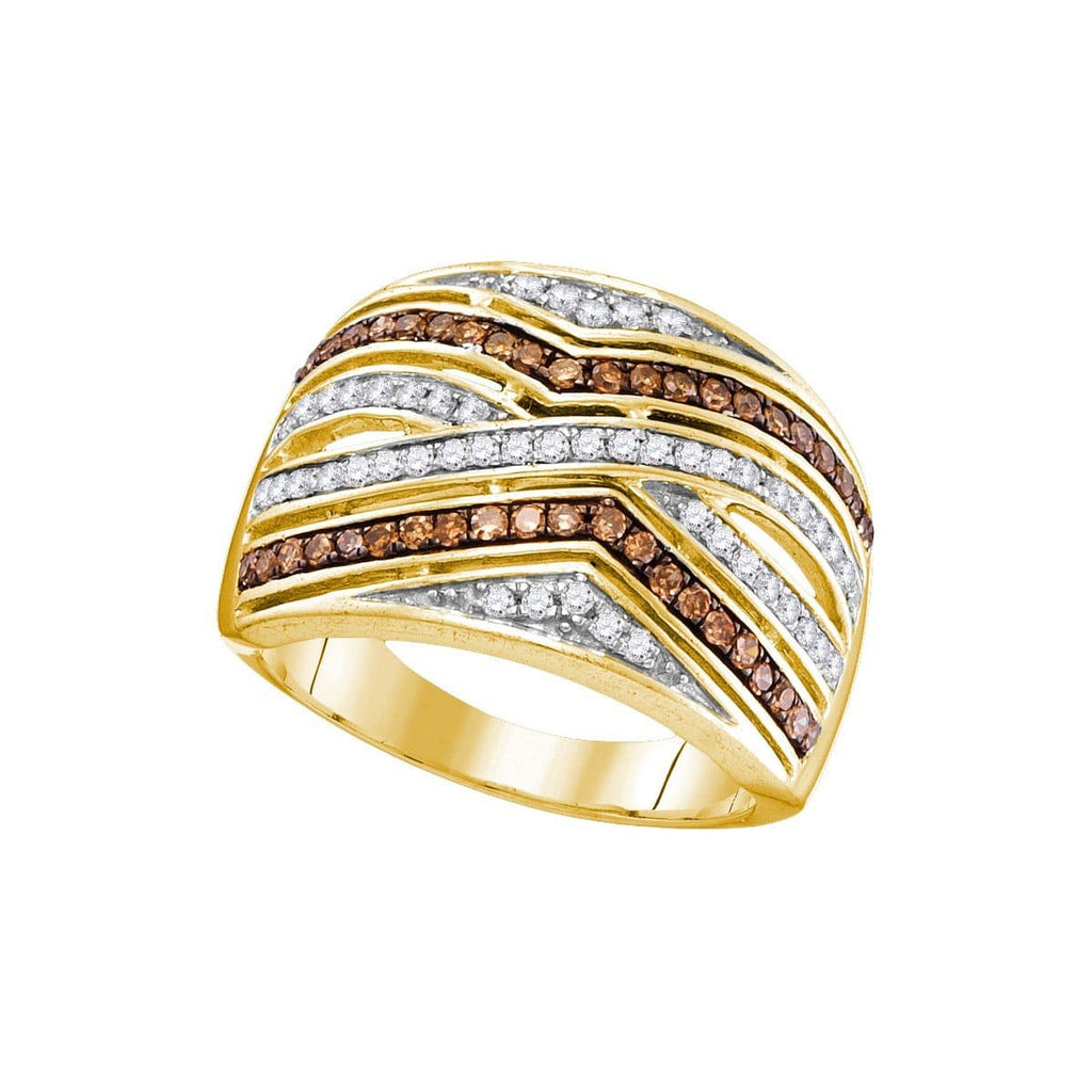 10kt Yellow Gold Womens Round Brown Color Enhanced Diamond Striped Band Ring 1/2 Cttw