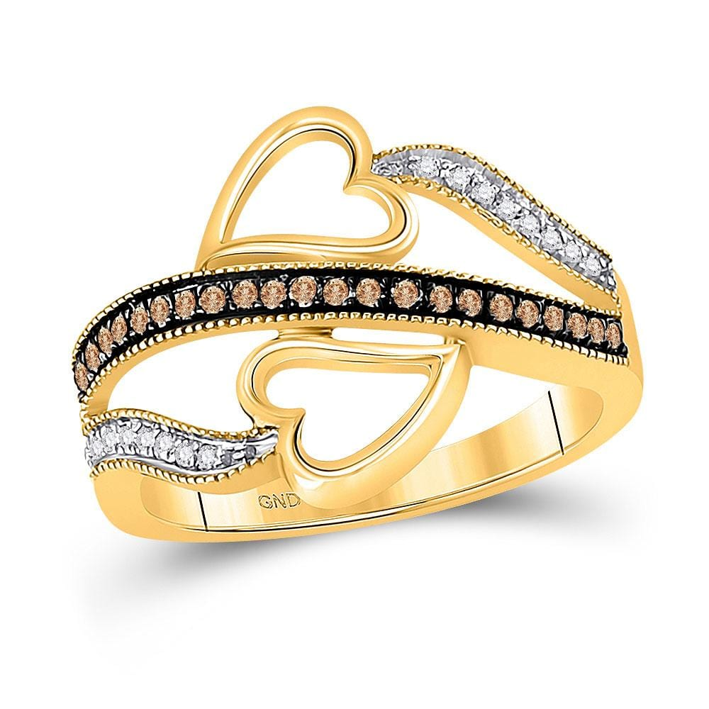 10kt Yellow Gold Womens Round Cognac-brown Color Enhanced Diamond Heart Crossover Ring 1/5 Cttw