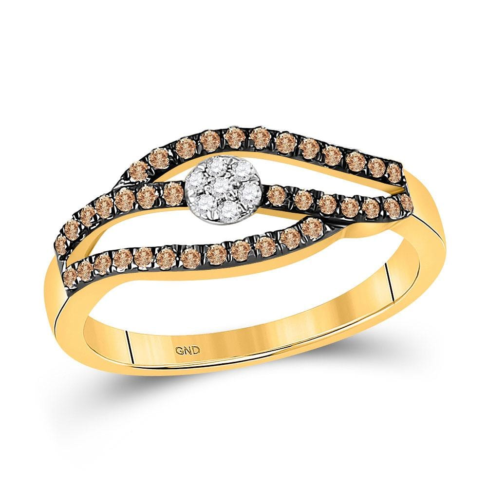 10kt Yellow Gold Womens Round Cognac-brown Color Enhanced Diamond Strand Cluster Ring 1/3 Cttw