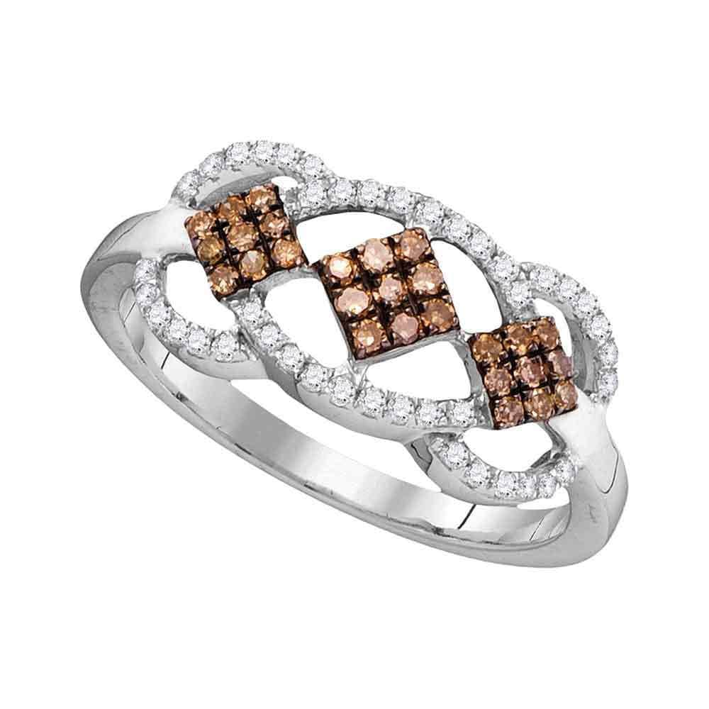 10kt White Gold Womens Round Brown Color Enhanced Diamond Cluster Ring 1/3 Cttw