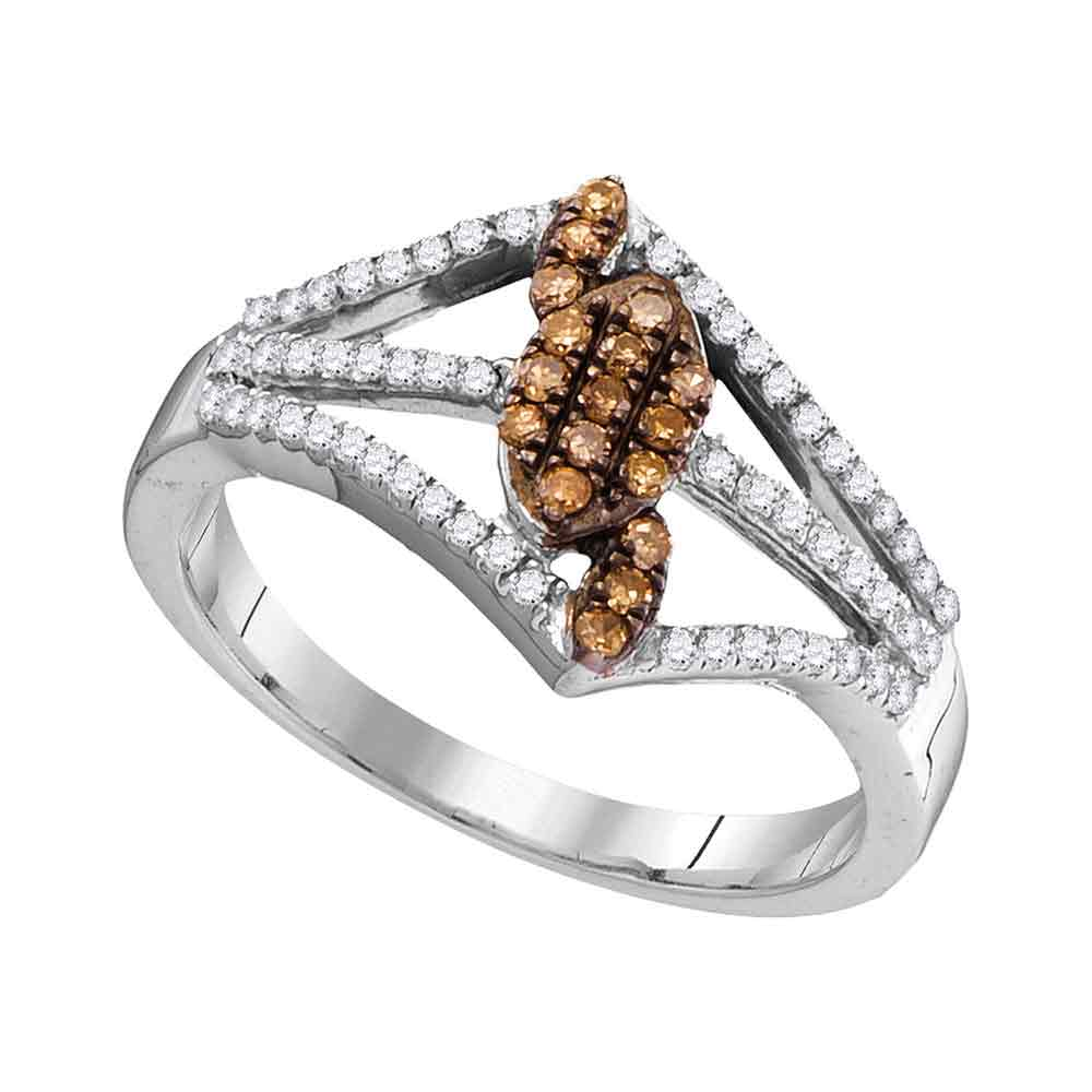 10kt White Gold Womens Round Cognac-brown Color Enhanced Diamond Cluster Triple Strand Ring 1/3 Cttw