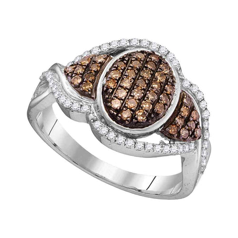 10kt White Gold Womens Round Cognac-brown Color Enhanced Diamond Oval Frame Cluster Ring 1/2 Cttw