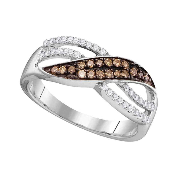 10kt White Gold Womens Round Brown Color Enhanced Diamond Band Ring 1/3 Cttw