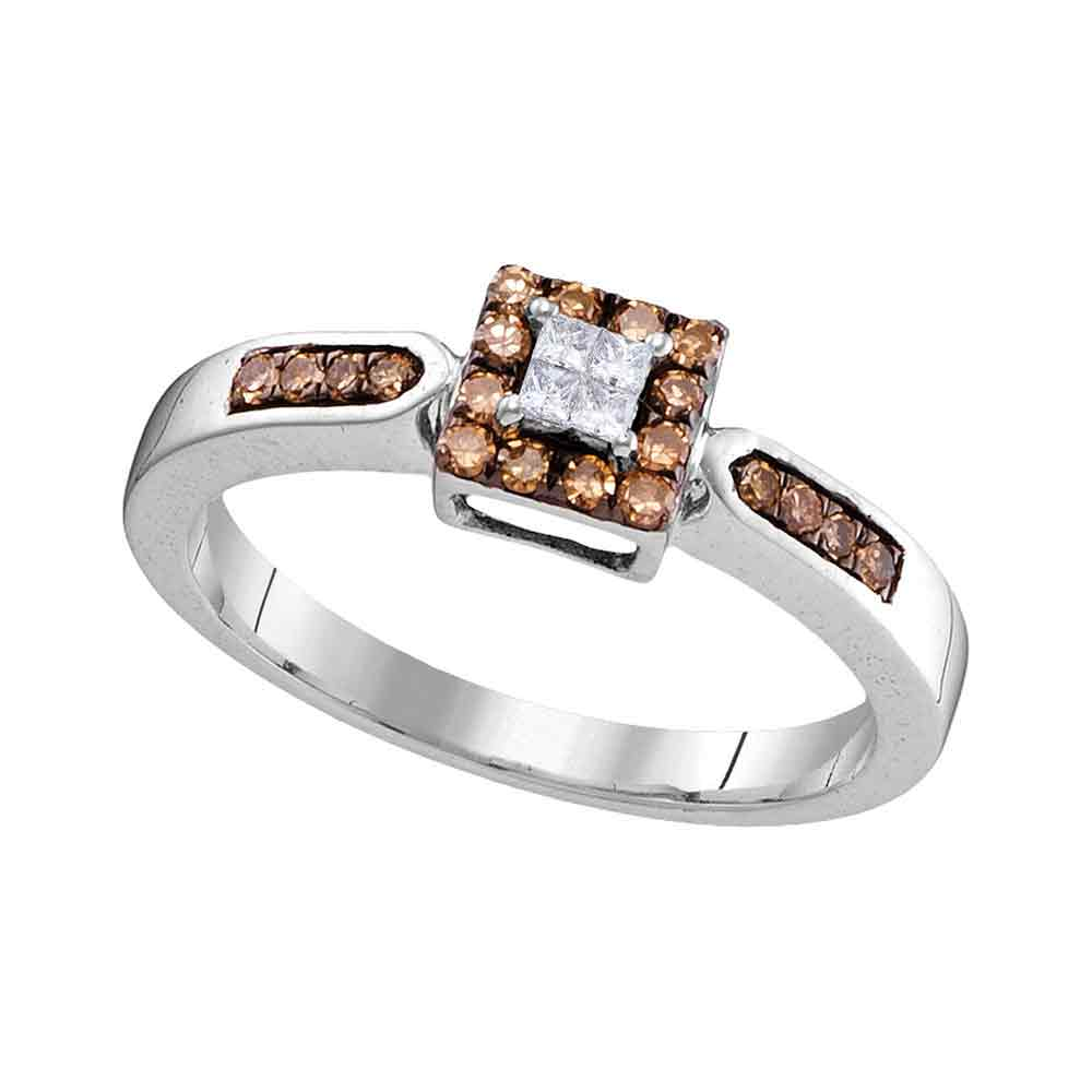 10kt White Gold Womens Round Cognac-brown Color Enhanced Diamond Square Cluster Ring 1/4 Cttw