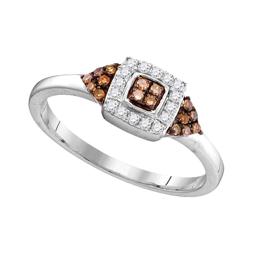 10kt White Gold Womens Round Brown Color Enhanced Diamond Square Cluster Ring 1/5 Cttw